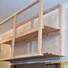DIY Garage Storage Ceiling Mounted Shelves + Giveaway & hanging overhead storage | Garage Workshop | Pinterest | Overhead ...