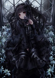 Anime pictures and wallpapers with a unique search for free. More than pictures. Dark Anime Girl, Gothic Anime Girl, Anime Girls, Gothic Lolita, Lolita Style, Victorian Gothic, Fan Art Anime, Anime Art Girl, Manga Girl
