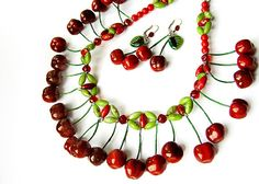 Red Cherry Necklace and Earrings Set handmade by abrakadabraua, $97.00
