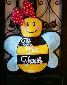 Bumble Bee Door Hanger Hand Painted Burlap By ConnieRisleyCrafts