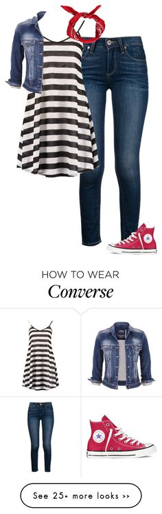 """""""Red and Strips. ~Grace"""" by isongirls on Polyvore featuring Paige Denim, Boohoo, maurices and Converse"""