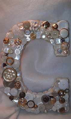 """CUSTOM Button Initial  White & Gold C by allbuttonedupbytina, $35.00 I LOVE this """"C"""" - thinking of making an """"A"""" like this♥"""