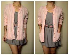 Vintage Pink Grandma Hipster Sweater Cardigan with Pockets  I need it