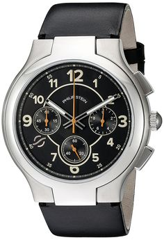 Philip Stein Mens Black Chronograph watch with Black Italian Leather Strap >>> You can find more details by visiting the image link.