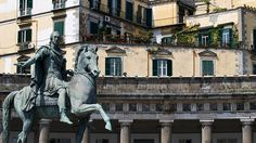 The statue of Ferdinando IV di Borbone in Piazza del Plebiscito, one of the largest piazzas in Naples.