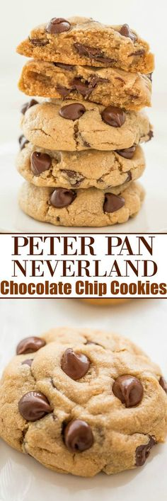 Peter Pan Neverland Chocolate Chip Cookies Soft and chewy peanut butter cookies loaded with chocolate chips! The combination of peanut butter and chocolate is IRRESISTIBLE! - Chocolate Chip - Ideas of Chocolate Chip Chewy Peanut Butter Cookies, Soft Chocolate Chip Cookies, Yummy Cookies, Chocolate Chips, Chocolate Granola, Cookie Butter, Cake Chocolate, Chocolate Desserts, Cake Cookies