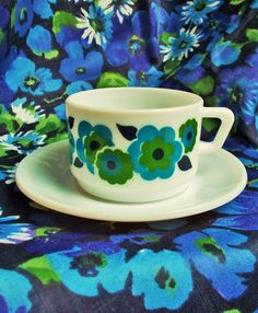 Retro Demi Tasse Cup and Saucer - Lotus  by Arcopal in France - 1970's - Teal blue. green & navy -  used by GertieGussetsVintage on Etsy