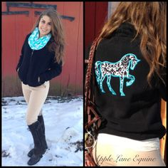 Custom fleece jacket from Apple Lane Equine! Absolutely stunning black and white damask print with a pop of teal. Www.etsy.com/shop/AppleLaneEquine