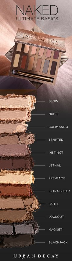 Introducing Naked Ultimate Basics—the matte eyeshadow palette you've been begging for! This sleek square case is loaded with 12 ALL-NEW, must-have neutrals. Every single one is not only new, but also Makeup Goals, Love Makeup, Makeup Tips, Makeup Trends, Makeup Ideas, Makeup Set, Beauty Trends, All Things Beauty, Beauty Make Up