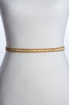 skinny gold beaded wedding belt gold bridal belt / by BridesBoutik Wedding Belts, Wedding Sash, Headpiece Wedding, Bridal Headpieces, Bridal Sash Belt, Headband Styles, Long Ties, Beaded Trim, Black Ribbon