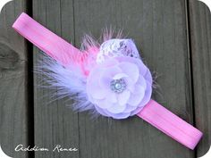 This is by far my favorite from Addison Renee... maybe its the name baby headband flower headband The Lucinda PINK by AddisonRenee, $9.95