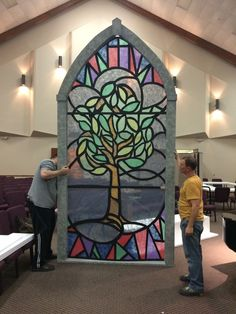 Arched Stained Glass - Church Stage Design Ideas - Scenic sets and stage design ideas from churches around the globe. Stage Set Design, Set Design Theatre, Church Stage Design, Stained Glass Church, Stained Glass Windows, Theatre Props, Stage Props, Macabre Decor, Stained Glass Designs