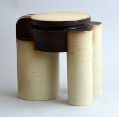 "Fritz and Vera Vehring, own studio  1. Unique stoneware sculpture with matte cream and dark brown glaze, 1979 Height 9"" (23 cm) Width 9"" (23cm)"