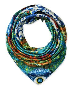 "Corciova®  35"" Silk-like Big Square Scarf 35 x 35 (Ethnic patterns blue green background)"