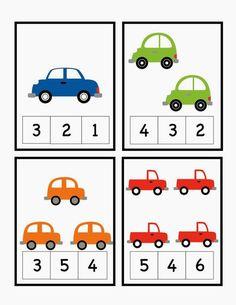 Car Alphabet, Number and Pattern Cards ~ Preschool Printables Cars Preschool, Numbers Preschool, Preschool Learning Activities, Learning Numbers, Preschool Printables, Math Numbers, Printable Worksheets, Montessori Math, Transportation Theme