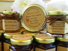 Spread the Love Wedding/Party Jam Favors - 50 (1.5oz) jars -  Personalized Labels, Your Choice Jam and Colored Raffia Ribbon - FREE 4oz Jar