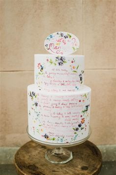Cake with hand painted quotes.
