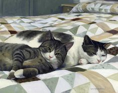 Cats On The Quilt by Alecia Underhill - Cats On The Quilt Painting - Cats On The Quilt Fine Art Prints and Posters for Sale
