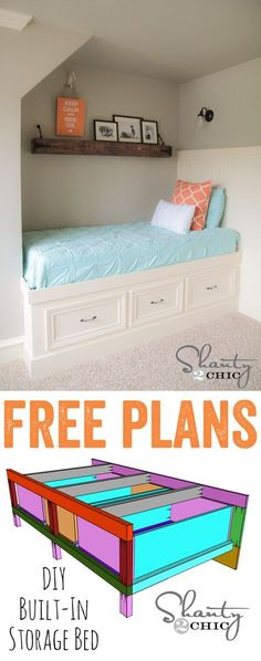 LOVE this built-in storage day bed!! Would also make a great corner bed! FREE plans too! www.shanty-2-chic.com