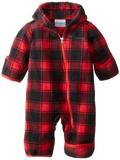 Columbia Baby-Boys Infant Snowtop II Bunting, Bright Red Tartan Lumberjack, 3-6 Months