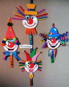 30 idéias para criar com crianças no carnaval - Basteln mit kindern - Kids Crafts, Clown Crafts, Circus Crafts, Creative Crafts, Preschool Crafts, Projects For Kids, Diy And Crafts, Arts And Crafts, Paper Crafts