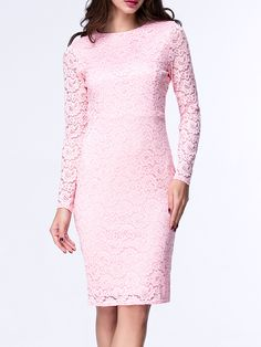 Crew Neck Slit Hollow Out Plain Lace Bodycon Dress