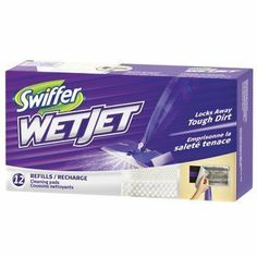 Swiffer Wet Jet Cleaning Pads, Refill, 12 ct. by Swiffer. $6.37. For Wet Jet power mop. Absorbent pad locks away tough dirt. Absorbent multi-layered cleaning pad: pulls and locks in the dirt and dirty water forever. One pad cleans about 2 large rooms (or approximately 30 sq. meters [323 sq. feet]). Made in Canada.