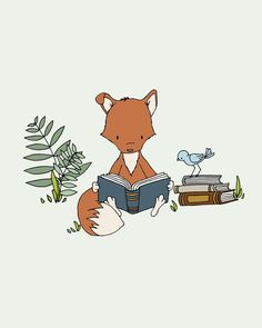 "Foxes are IN for 2014! How precious in this ""What does the Fox Read"" print from @Carrie Mcknelly Tomaschko's Sweet Melody Design? #nursery #nurserydecor #wallart"
