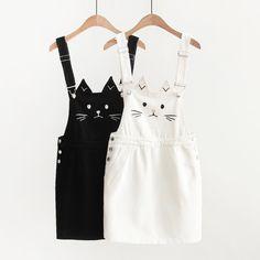 www.sanrense.com - Black/white cat printing straps skirt SE11080