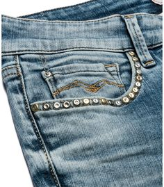 LUZ 335 561 - Women's super #skinny 5-pocket #jeans, medium/light wash, back-side push-up effect. Whiskers, broken effects on pockets & studs applied.  #REPLAYss15