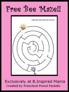 Free Bee Maze Printable from Preschool Powol Packets at B-InspiredMama.com