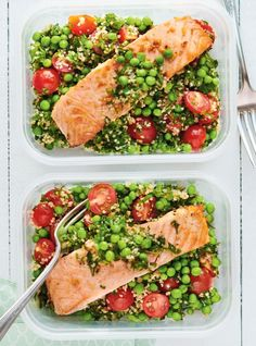 Cold Salmon with Tabbouleh and Peas Fish Salad, Pea Salad, Cold Dinner Ideas, Zucchini, Cold Lunches, Salmon Dishes, Weekday Meals, Fish Dinner, Frozen Peas