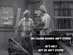 Barney and Gomer getting things ready to save Andy & Helen in a caved in mine... The Andy Griffith Show