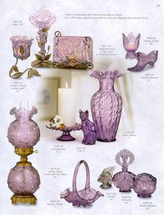 FENTON ART GLASS CATALOG Fenton Lamps, Fenton Glassware, Vintage Glassware, Vintage Colors, Vintage Items, Cut Glass, Glass Art, Purple Pages, Feminine Bedroom