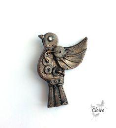Steampunk brooch bird. Bronze brooch. Brooch bird. Steampunk bird. Mechanical…