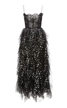 d0d018ba62 Oscar de la Renta Sequin-Embellished Lace and Tulle Midi Dress