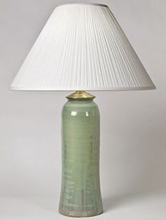 Tall soft green stoneware lamp from Shaker Workshops