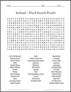 Ireland Word Search Puzzle   Free printable worksheet.