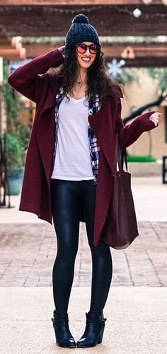 #winter #fashion /  Black Beanie / Burgundy Cardigan / White Tee / Black Leather Leggings / Black Leather Booties