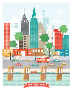 This unique print is an original illustration created by me inspired by the fun city of New York City. Theres the skyline, Brooklyn Bridge, the