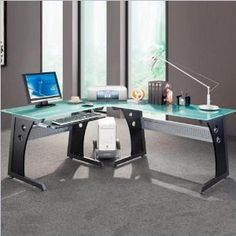 Graphite U0026 Frosted Glass L Shaped Computer Desk With CPU Caddy (Office  Product)