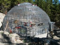 Exterior of Steel Framework for Dome Diva's Monolithic Dome, image by Cindy Johnson