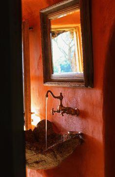 Etxekodeco   Natural rock as sink vessel     Grandin Road Color Crush on Burnt Orange