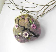 Felted coin purse Sakura Handbag with Needle felt sakura Ready