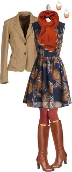 This would be a great work outfit year-round by switching the boots out for sandals or flats. A cardigan instead of the blazer would work, too. A stylist, comfortable business casual outfit. Look Boho, Look Chic, Fall Winter Outfits, Autumn Winter Fashion, Dress Winter, Autumn Style, Mode Style, Style Me, Boho Work Outfit