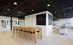 Huis van Portaal Head office by Concern, Utrecht Netherlands office design Office Interior Design, Office Interiors, Visual Merchandising, Office Team, Utrecht, Community Space, Black Ceiling, Black Tiles, Design Blogs