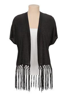 1920s Shawls, Scarves and Evening Jacket Tips: Slub knit kimono with fringe $26.99  #1920sfashion #shawl