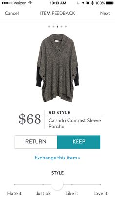 RD style Calandri contrast sleeve poncho stitch fix