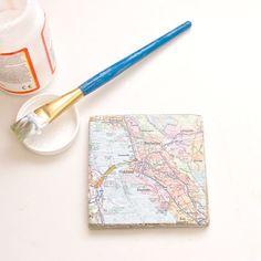 Upcycled #Map Tile Coasters | POPSUGAR Smart Living
