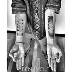 Finished Dmitry's pair of #Horyig #Tibetan #Mongolian #sealscript pieces today. The fresh left forearm reads #Patience, and the right reads #Equanimity. Two words to guide him on his path to #enlightment. Safe travels, Friend! #benvolt #blackwork #blackworkers #tattoo #tattoos #Buddhism #graphicdesign #scholartattoo #sanfrancisco (at Scholar Tattoo)